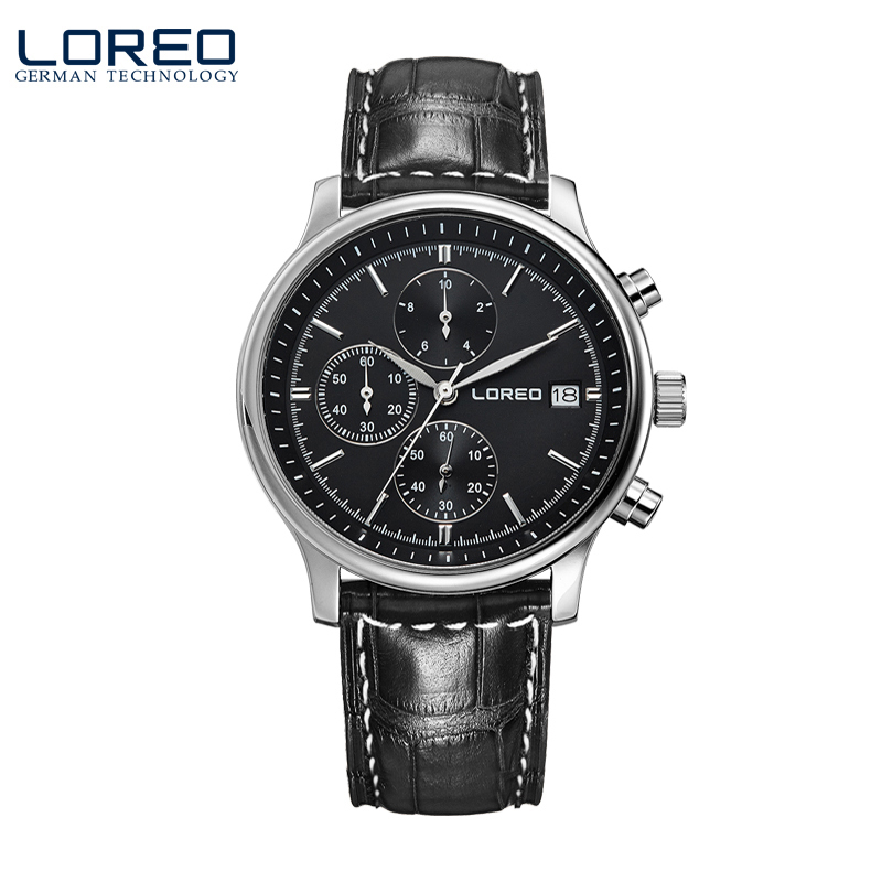 LOREO Germany watches men luxury brand quartz watch waterproof 50M Calendar Chronograph black Leather belt relogio masculino liebig brand men watches male 50m waterproof quartz watch with calendar for outdoor sport leather strap relogio masculino 1014