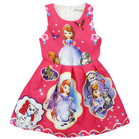 Summer Cute Girl Dress Vestido Princesa Sofia Cosplay Costume Casual Children Clothes Rapunzel Cinderella Sleeping Beauty
