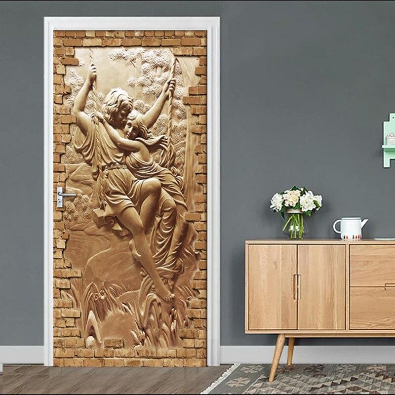 Door Stickers European Embossed Figure Love Living Room Bedroom Door Wallpaper PVC Self Adhesive Wall Decals Imitation Sticker