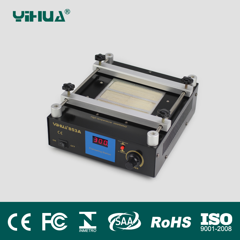 все цены на 110V/220V YIHUA 853A High power ESD BGA rework station PCB preheat and desoldering IR preheating station онлайн