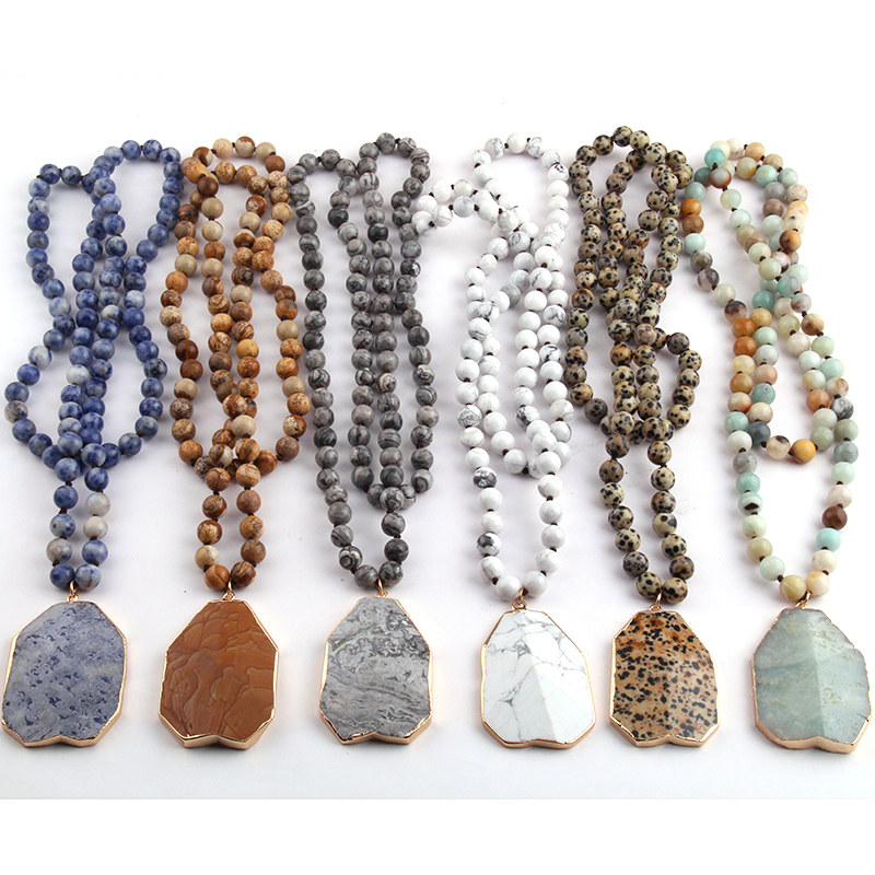 MOODPC Fashion Bohemian Tribal Jewelry Natural Stone Knotted Stone Matching Pendant Necklaces For Women Necklace