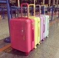 "20""24 inch Pink/rose red/yellow cute trolley luggage bag pc/abs fashion travel suitcase for girls"