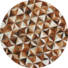 American style Round shaped  natural cowhide seamed rug , brown fur carpet for living room bedroom decoration mat