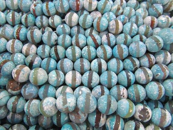 Haute qualité 5 brins 8 10 12mm tibétain Agate gemme boule ronde à facettes Triangle yeux mauvais violet aqua bleu lâche perle