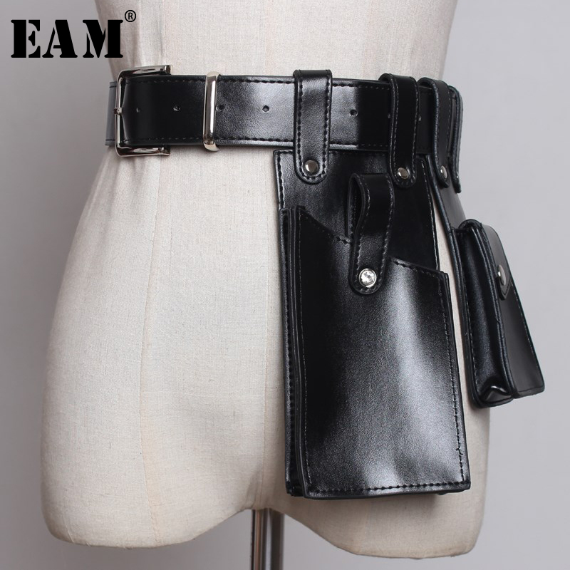 [EAM] 2020 New Spring Summer Pu Leather Black Buckle Orange Mini-bag Personality Long Belt Women Fashion Tide All-match JW655