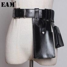 [EAM] 2020 Новинка Весна Лето Pu кожаная черная оранжевая мини сумка с пряжкой индивидуальный длинный ремень Женская модная универсальная сумка JW655
