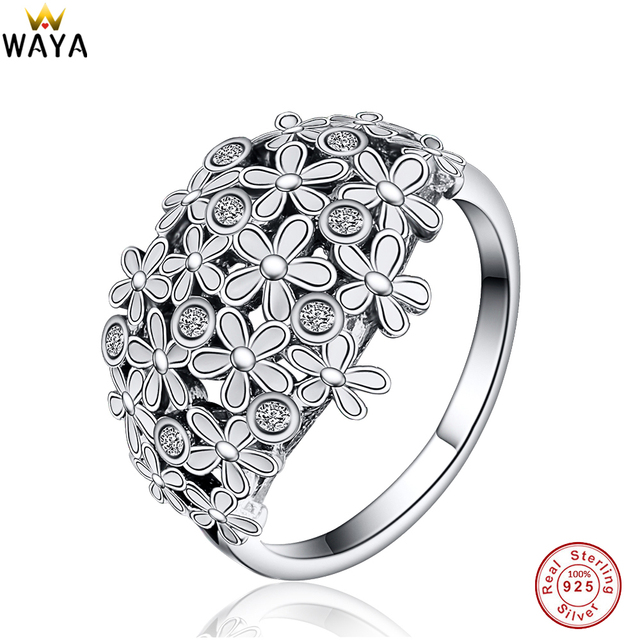WAYA 925 Sterling Silver Daisy Bouquet Rings With Cubic Zircon For Women Female Ring Genuine Famous Original Jewelry Making