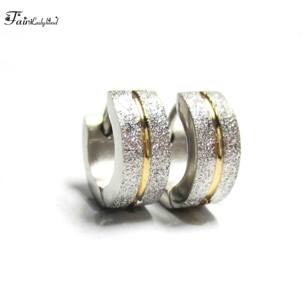 FairLadyHood 4 x 10 mm Women Men Fashion Hoop Earrings High Quality 316L Stainless Steel Trendy Style Earring Jewelry