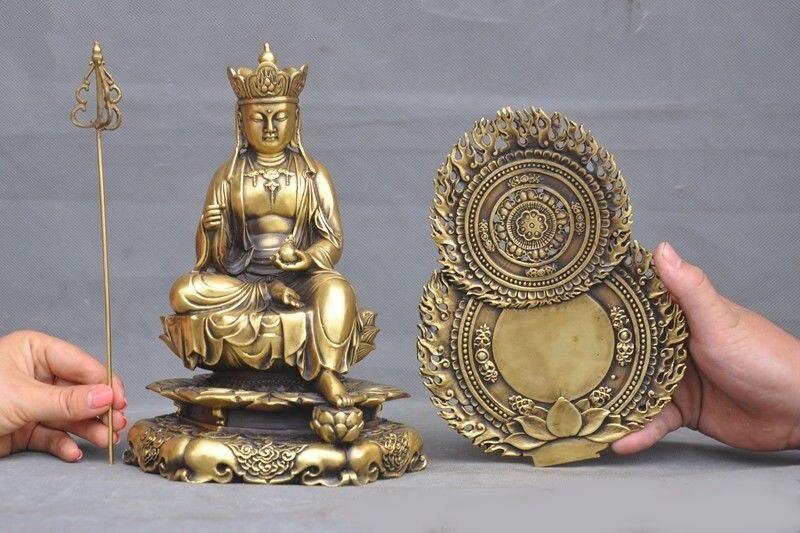 Décoration de mariage ancien bouddhisme tibétain en laiton Jizo Ksitigarbha Bodhisattva tang moine bouddha statue