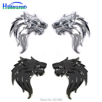 Free Shipping 1 Pair Left And Right Car Styling Dragon Lion Wolf 3D Emblem Side Metal