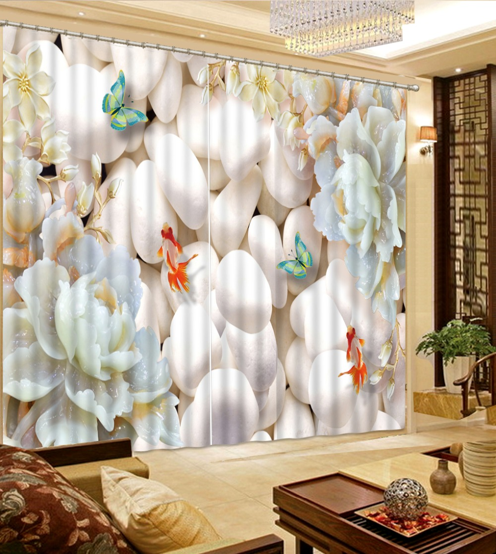 Customized size Luxury Blackout 3D Window Curtains For Living Room flower curtains stereoscopic curtains