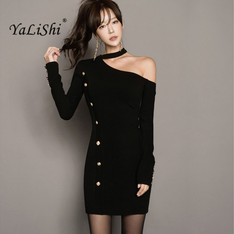 2018 Winter Women Dress One-Shoulder Long Sleeves Knitting Dress Sexy Party Slim Vintage Bandage Bodycon Sweater Dresses Vestido