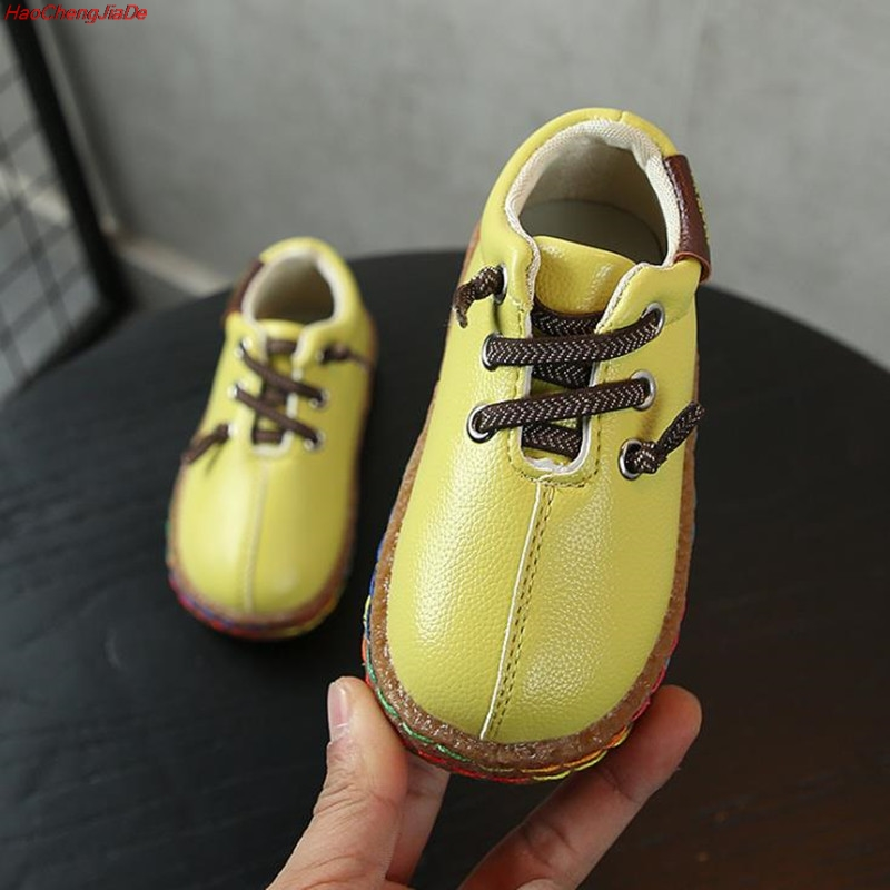 Spring New Kids Pu Leather Shoes Baby Girls Sport Sneakers Children Shoes Boys Fashion Casual Shoes Soft Brand Trainer