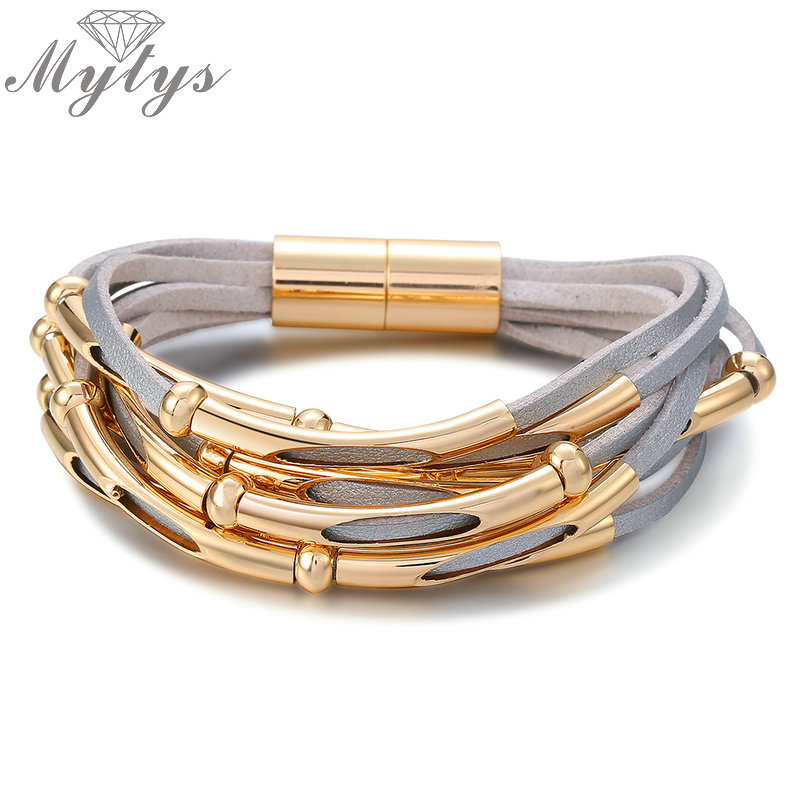 Mytys 3 Color Wrap Leather Bracelet For Women Pulseira Stylish Jewelry New Arrival Fashion Punk Bracket 7 inch B1091 B1092 B1093 stylish women s solid color pleated culotte