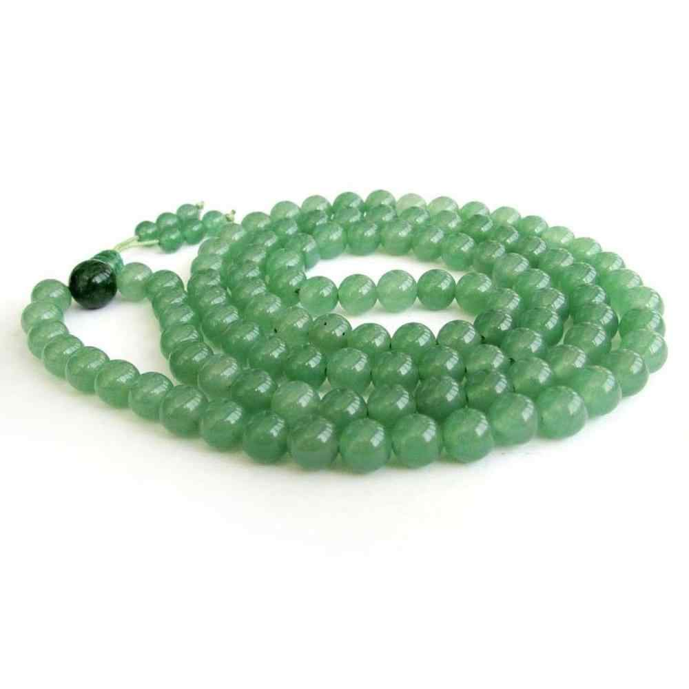 Aaa 8 mm verde Jade Tibet budista 108 Prayer Beads colar Mala + 009