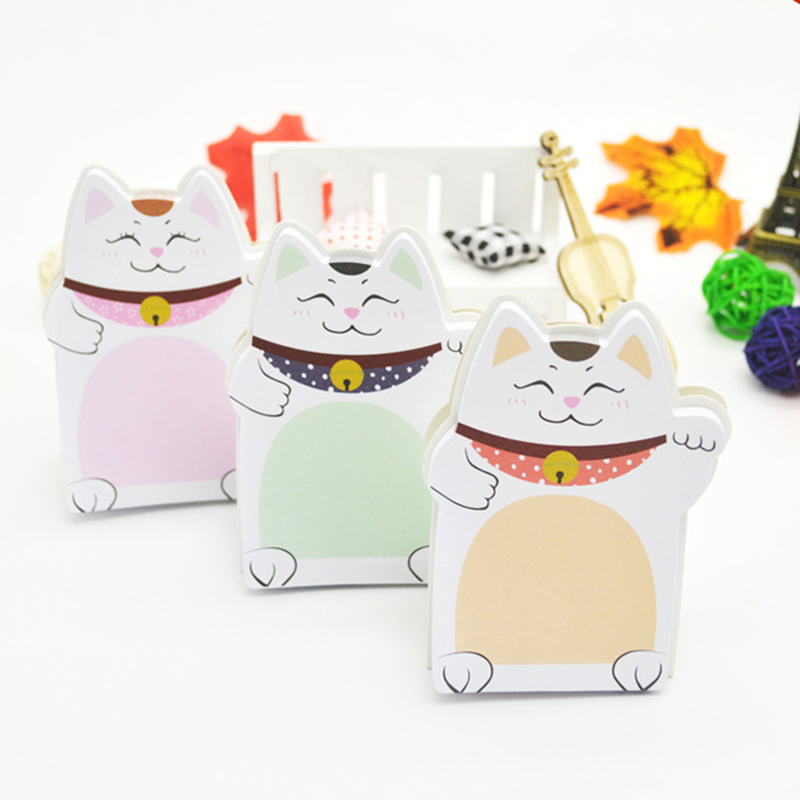 Cartoon Lucky Cat Memo Pad Sticky Notes Cute Standable Self-Adhesive Memo Notepad Notebook Post School Supplies Escolar