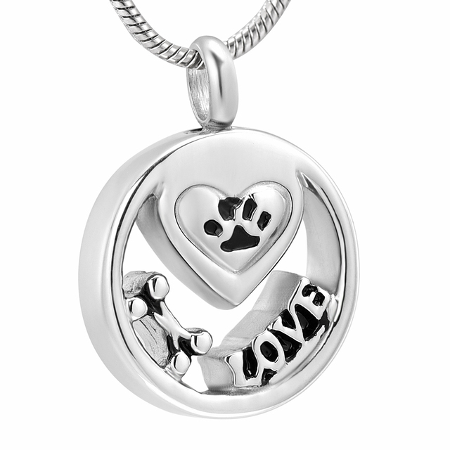 Pet Cremation Jewelry Pendant Necklace Engraving Paw Love Locket For Ashes Stainless Steel Memorial Urn Keepsake