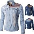 Fashionable Autumn Men Casual Cowboy Shirt Blouse Long Sleeves Printing Slim Shirt Blue