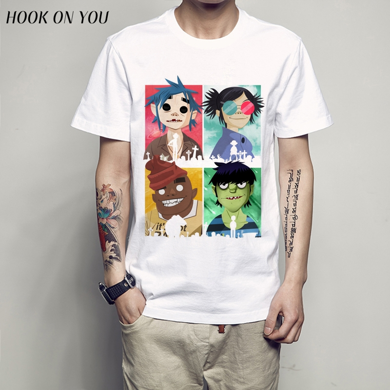 Gorillaz men male t shirt 2018 Anime Men's T Shirt Short Sleeve funny T-Shirt Men Mens Top Tees Shirt(China)