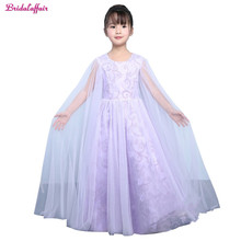 New Real Photo Appliques Purple Ball Gown Flower Girl's Dresses 2017 Lovely Arabic Floral Lace Little Kids Girl Communion Dress gorgeous vestidos communion ruffles bow button back lace appliques christmas little girl pink tulle ball gown 0 12 year old 2017
