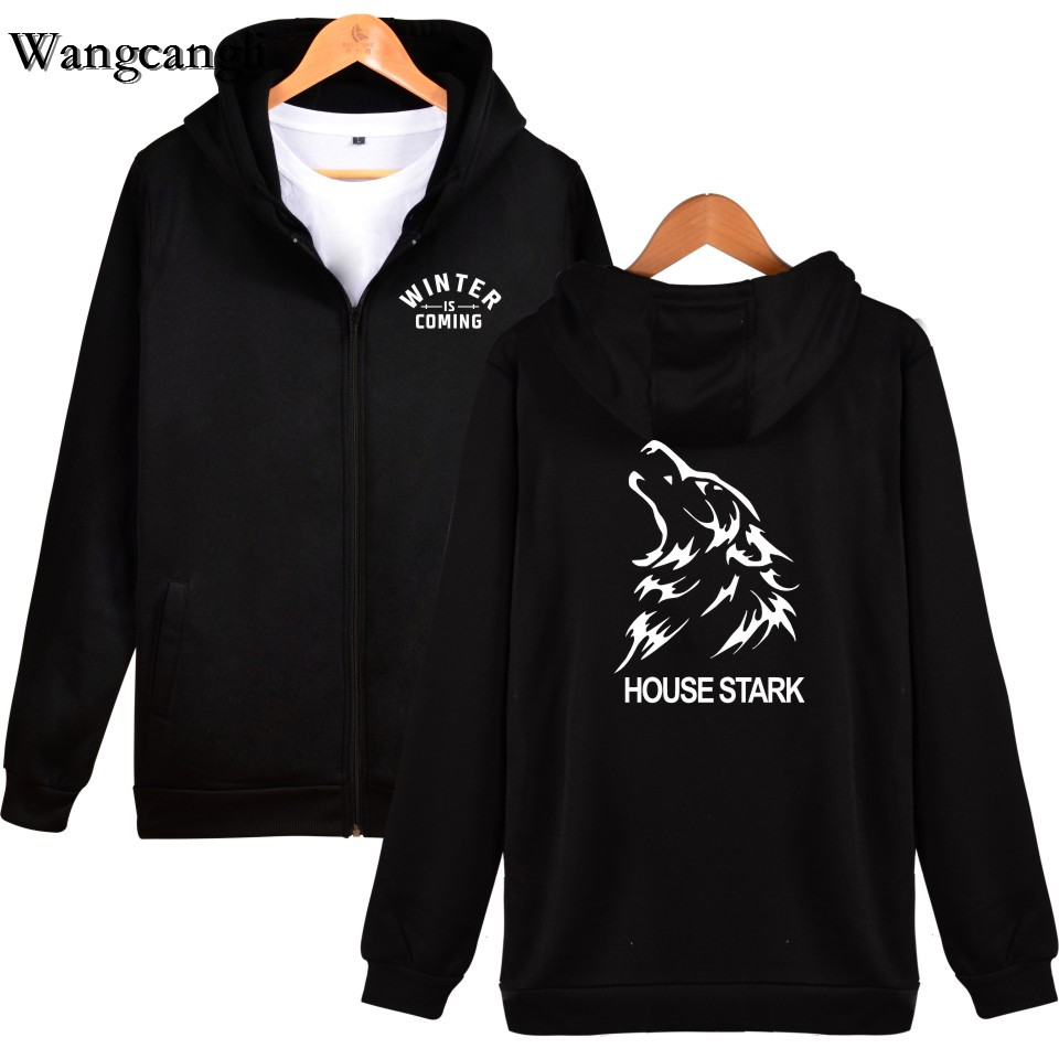 Wangcangli 2017 Spring Autumn Game of Thrones Home Stark Clothing Casual Sweatshirts with Hood Mens Jacket Coats