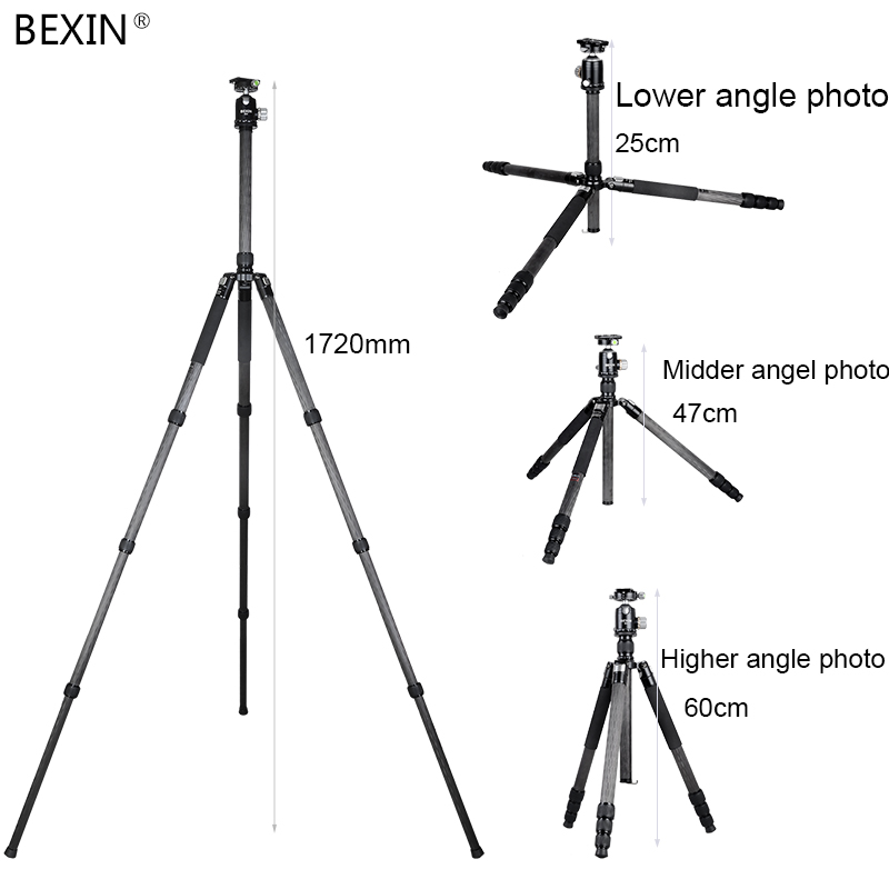 Bexin 4 Sections Carbon Fiber Portable Travel Monopod Tripod Stand Professional Camera Tripod for SLR Video Camera in Tripods from Consumer Electronics