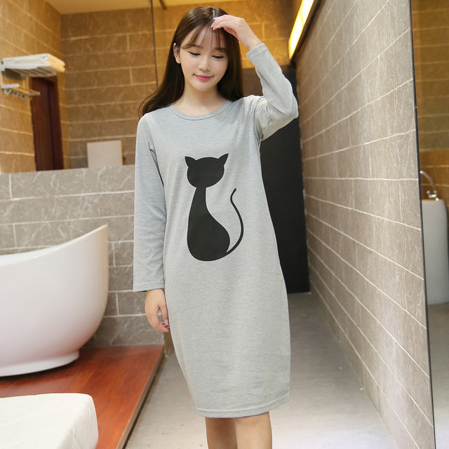 Spring and autumn long-sleeved lingerie women casual knited cotton sleepwear  Korean pyjamas cartoon tracksuit nightgown 2ea502ebd9