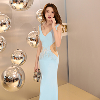 Long Evening Bead Dress 2018 With Beautiful Illusion Sexy Club Transparent Party Mermaid Dresses Floor Length V neck Prom