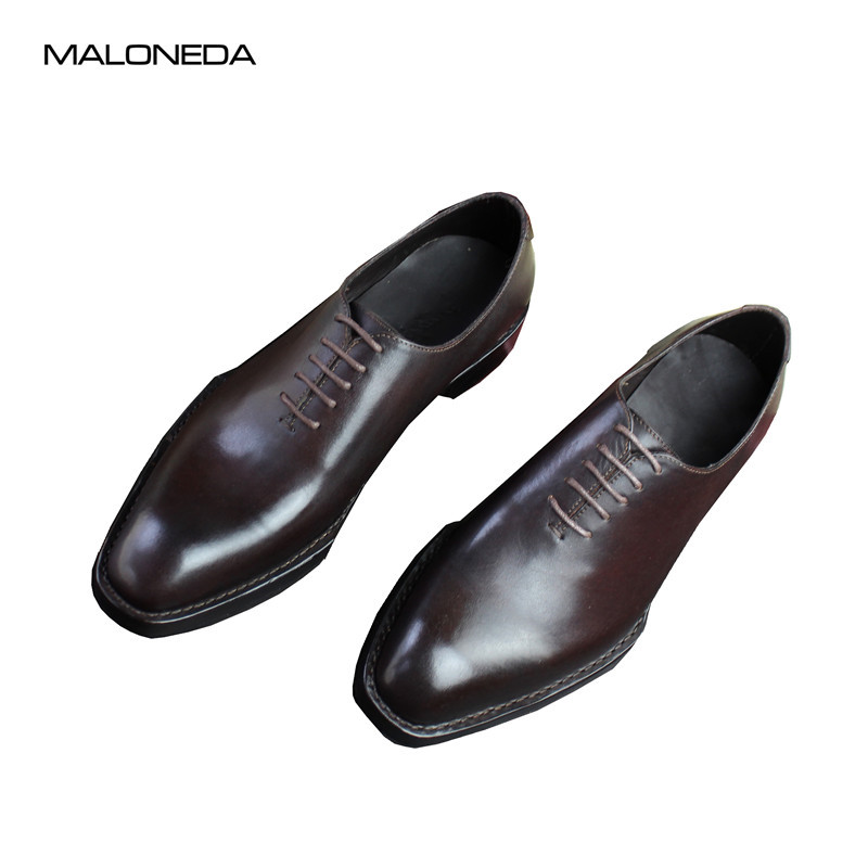 MALONEDA Custom Made Italy Retro Classic Genuine Leather Dress Shoes with Goodyear Welted For Men maloneda custom made genuine leather blue color dress shoes handmade goodyear welted lace up mens oxford brogue shoe