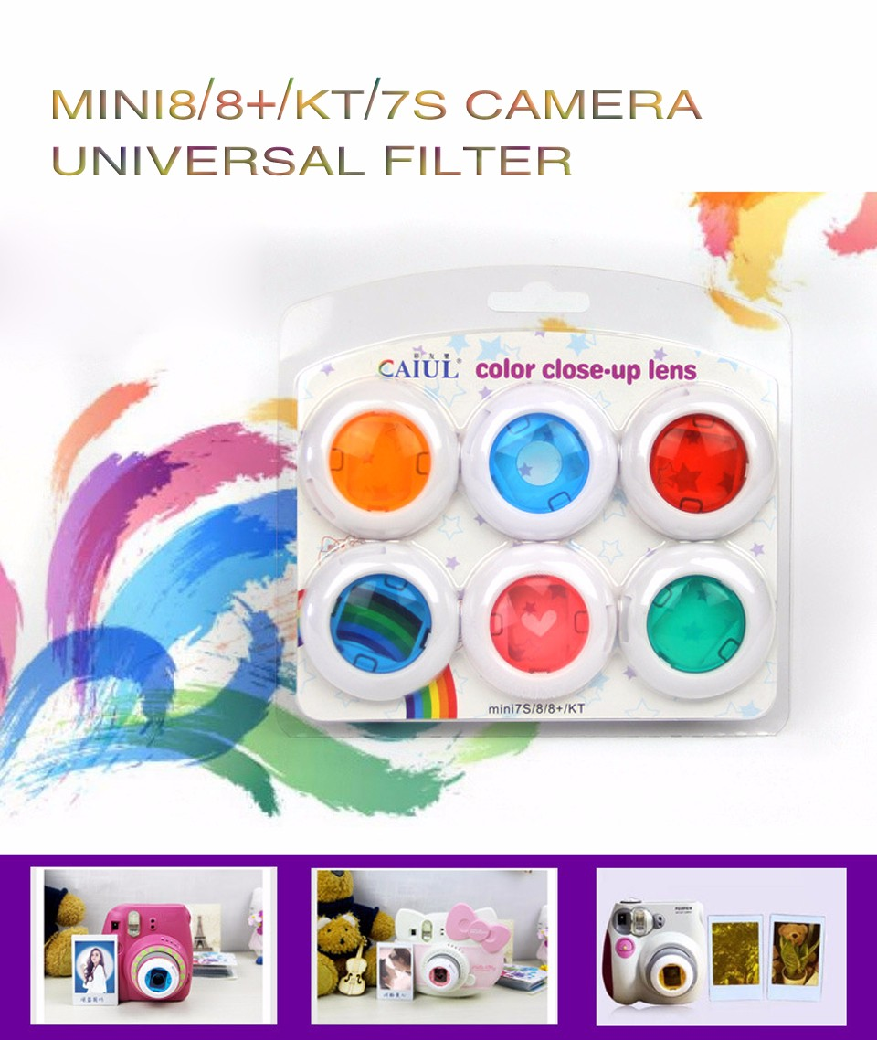 6 In 1 Colorful Filter For Fujifilm Instax Mini 8 7S Magic Lens Set Round Square Heart Shaped Instant Film Camera Accessories 1