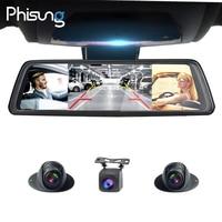 Phisung V9 Plus 4CH Cameras lens 10Android Navi car camera with gps rear view mirror dvr drive recorder ADAS WIFI RAM2GB+ROM32G