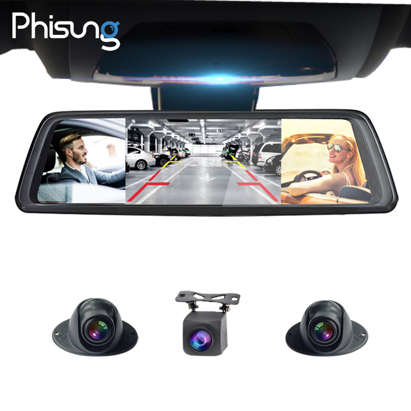 Phisung V9 Plus 4CH Cameras lens 10 Android Navi car camera with gps rear view mirror