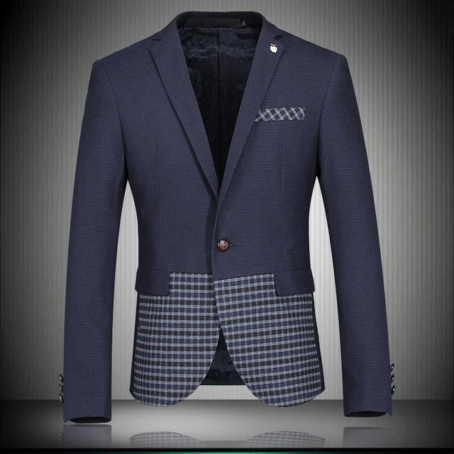 2016 recién llegado de lujo hombres Blazer primavera moda marca de calidad del algodón hombres Slim Fit Terno Masculino Mens Blazer Masculino