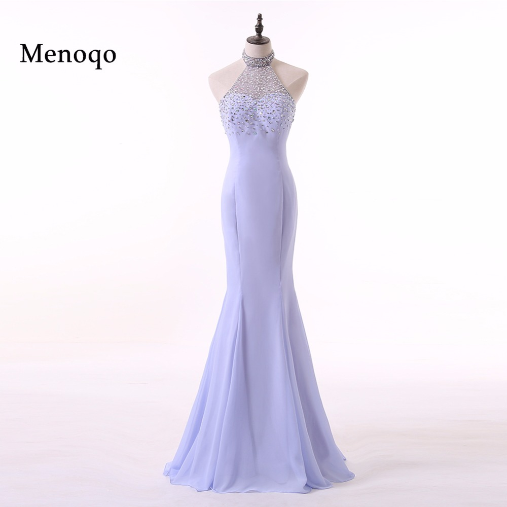 Menoqo Sexy   Prom     Dresses   Halter Mermaid Long Formal Party Gowns vestido longo Real Photo