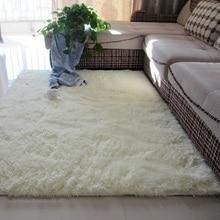 Alfombra blanca nórdica para sala de estar, cojín para mesa de centro, alfombrilla para el suelo del dormitorio, manta para cabecera, bonita alfombra rectangular de felpa