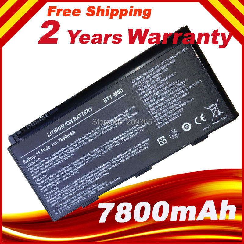 7800 мАч 9 клетки ноутбука аккумулятор для MSI BTY-M6D GT783H GX660 GX660DX GX70H GX780R GT70 GT760 GT60 7800 мАч