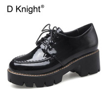 D Knight Patent Leather Platform Oxfords Shoes Woman High Square Heels Pumps Shoes Fashion Office Casual Oxford Shoes For Women цена 2017