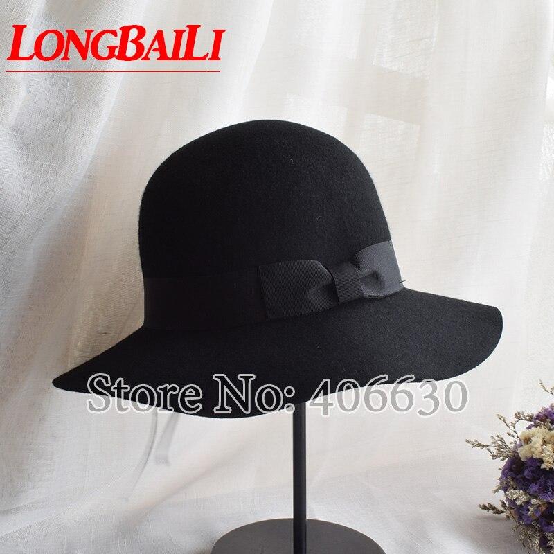 Winter Wool Felt Fedora Hats For Women Chapeau Feminino Female Wide Brim Sun Hats Free Shipping PWFE030