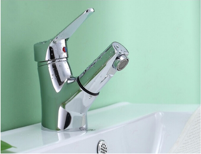 unique design chrome brass single lever hot and cold sink faucet bathroom basin faucet,tap mixer with pull out shower head