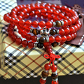 Natural Red Agate Bracelets for Women 108 Beads 6mm Round Crystal Tiger Eye Stone Multilayer Jade Bracelet  Jewelry Accessories