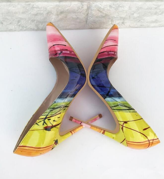 Femme 2018 As Nouveau Profonde Marque Pointu Beertola Picture Bout Luxe Peu De Haute Couleur Chaussures Modèle Mélangée Talons Pompes Mode Super Sexy xFtB5BwSq