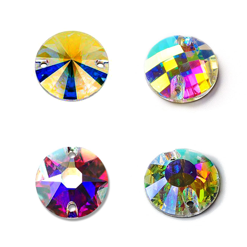 Crystal AB Sew On Rhinestones sparkle Round Strass Rainbow For Jewelry Dress Gymnastics Garment Decoration in Rhinestones from Home Garden