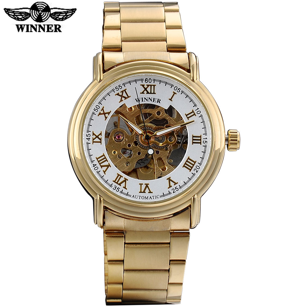 WINNER fashion business men mechanical watches casual brand men automatic skeleton dial wristwatches steel band reloj