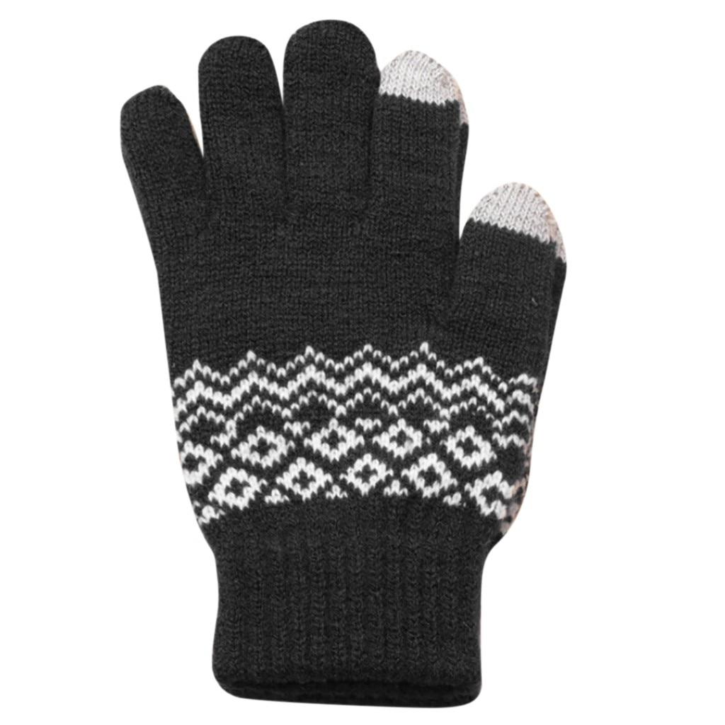 Handschoenen 1 St Handschoenen Womens Mannen Winter Geometrische Knit Klik Screen Vingers Screen Warme Fleece Handschoen 2018 Nov24
