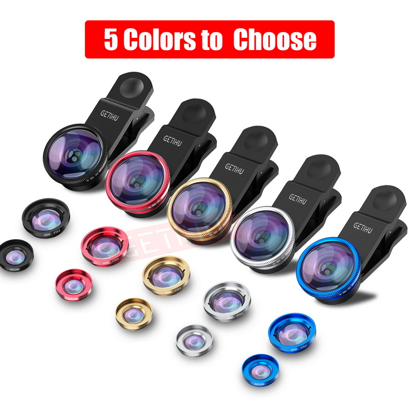 Universal Fisheye Lens 3 in 1 Mobile Phone Clip Lenses Fish Eye Wide Angle Macro Camera Lens for Smartphone iPhone 6 Microscope 7