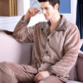 Male winter sleepwear thickening flannel lounge set long-sleeve plus size male coral fleece sleepwear
