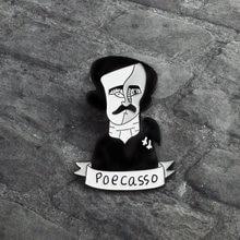 e3b61e2fb Edgar Allan Poe Pin Esmalte Preto Poecasso estilo Homem Broche para As  Mulheres Dos Homens do Metal Crachá Denim Jeans Camisa La.