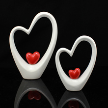 Modern Ceramic Heart-shaped Figurines & Miniatures Home decor crafts Furnishing Articles For Wedding decorations