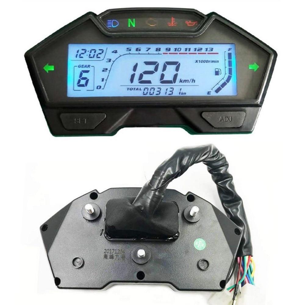 1PC 8 In 1 Multifunctional Speedo Odo Tacho Meter Gauge MPH Fuel Gear Indicator For DC 12V 4 Stroke Moto Disc brake Front Tire