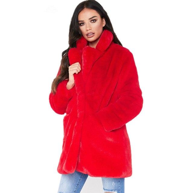 Long Women's Faux Fur Coat Solid Loose Soft Rabbit Fur Coat Hot Sale Casual Coat for Female 8 Color to Choose FF057 3